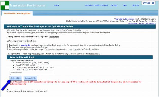 QuickBooks Online Import Using Transaction Pro Importer