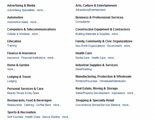Sample display of QuickLinks on the Business Directory Search page