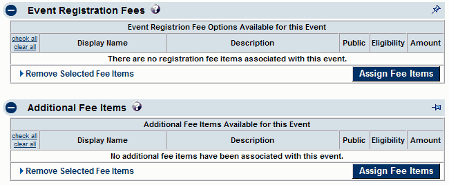 Assign fee items - fees tab
